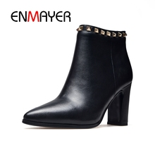 ENMAYER Women Ankle boots High heels Shoes Fashion Pointed toe women Causal Rivet Thick Size 34-39 CR407
