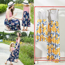 купить Mother daughter dresses Sleeveless Floral Long Dress Family Matching Clothes Outfits Mom Girls Summer Dresses Long в интернет-магазине