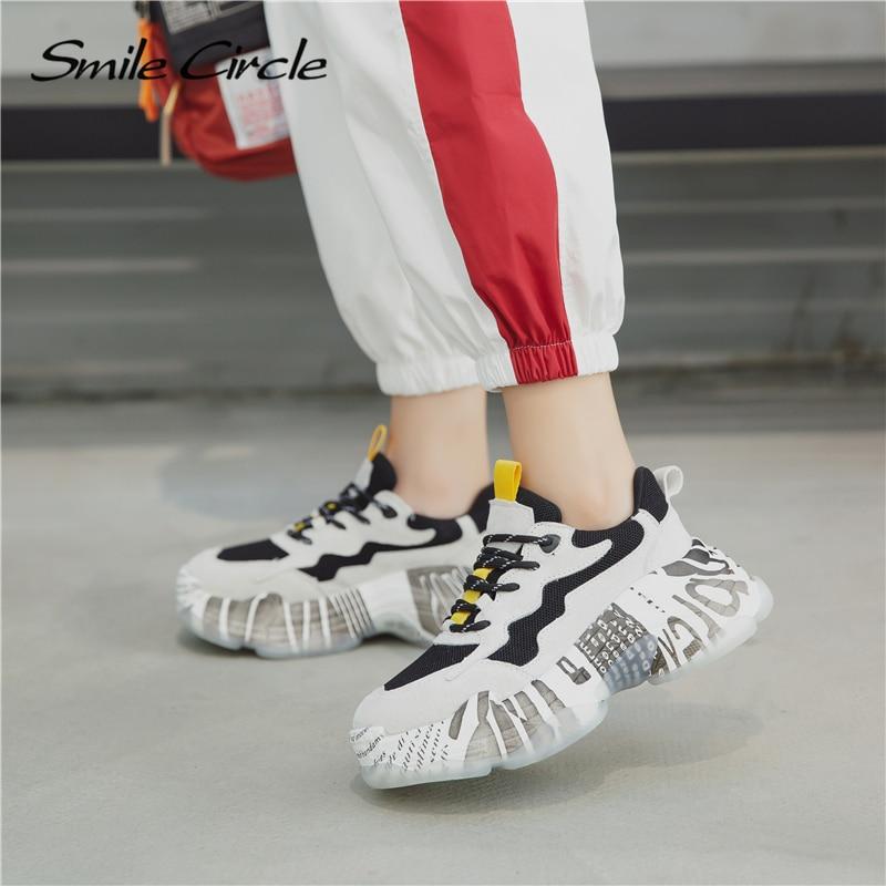 Plataforma Zapatos La Pie Plana Mujeres Las De Del Zapatilla Sonrisa Zapatillas Encaje 2019 Gruesa Grueso Deporte Círculo Malla Mujer gris Negro Primavera Fondo Transpirable Dedo Redondo xnWCq71wPa