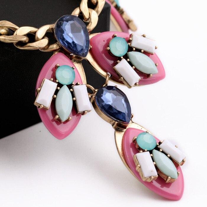 Женское модное ювелирное изделие, дизайн, Розовая Смола, камень, подвески, массивное ожерелье