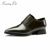 KRAZING POT Genuine Leather Original Designer Square Heels Mature Women Concise Style Handmade Pumps Pointed Toe