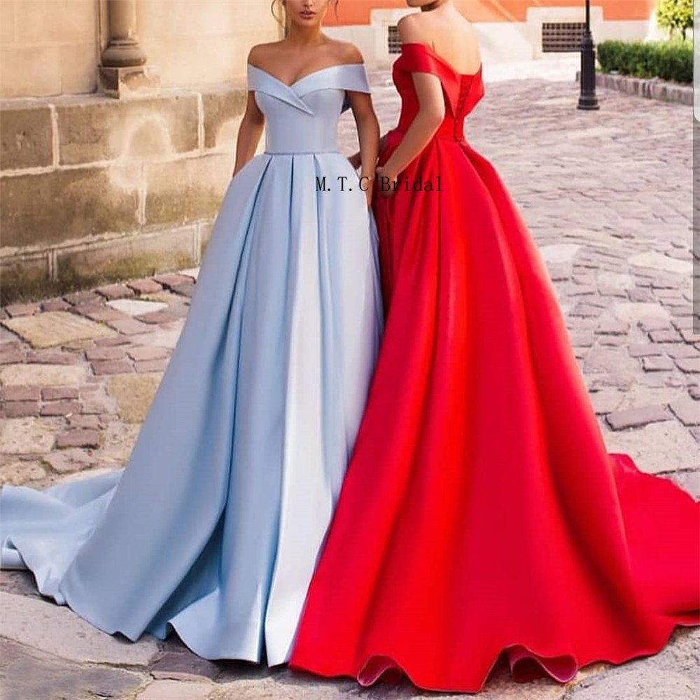 Graceful Mint Blue Long Prom Dresses Off The Shoulder Boat Neck A Line Charming Formal Evening Gowns Custom Made Robe De Soiree-in Prom Dresses from Weddings & Events    1