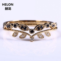 Solid 14k Yellow Gold Natural Diamonds Blue Sapphire Engagement Ring Wedding Anniversary Band Millgrain Leaf Romantic Exquisite