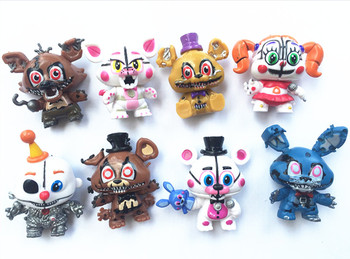 8pcs/set Five Nights At Freddys Anime Figurines PVC 6cm FNAF Foxy Freddy Chica Nendoroid Mini Figures Toys for Kids Игрушка