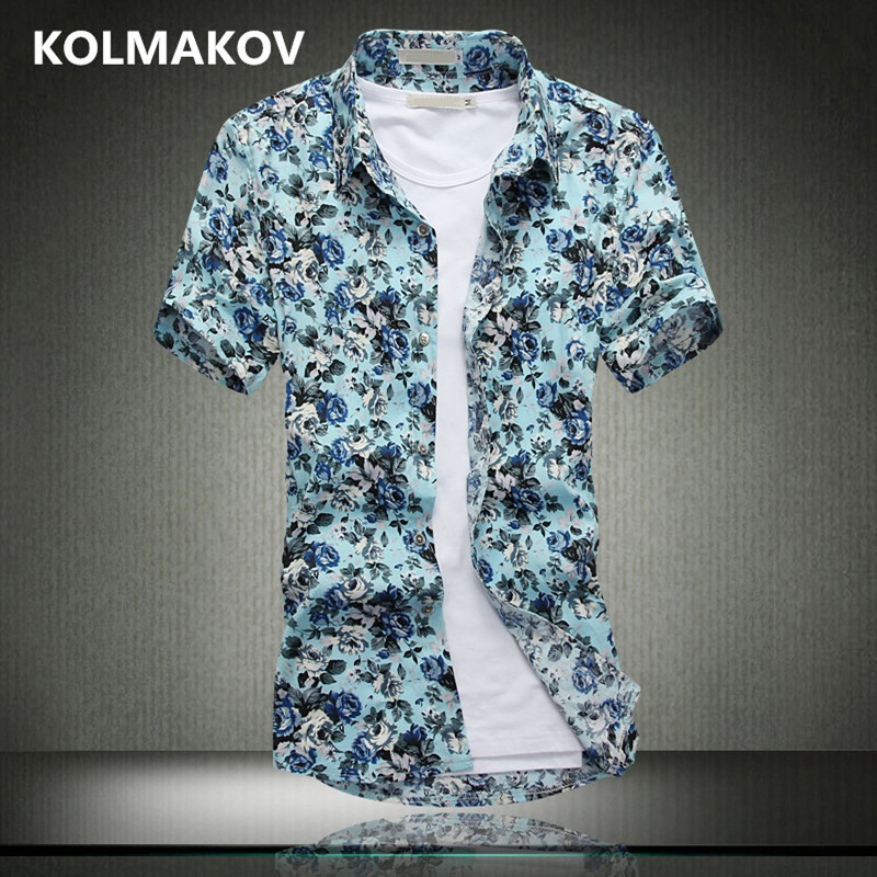 2018 New Shirts Men Casual Shirt Men Masculino Flower Color Short Sleeve Shirts Cotton S ...