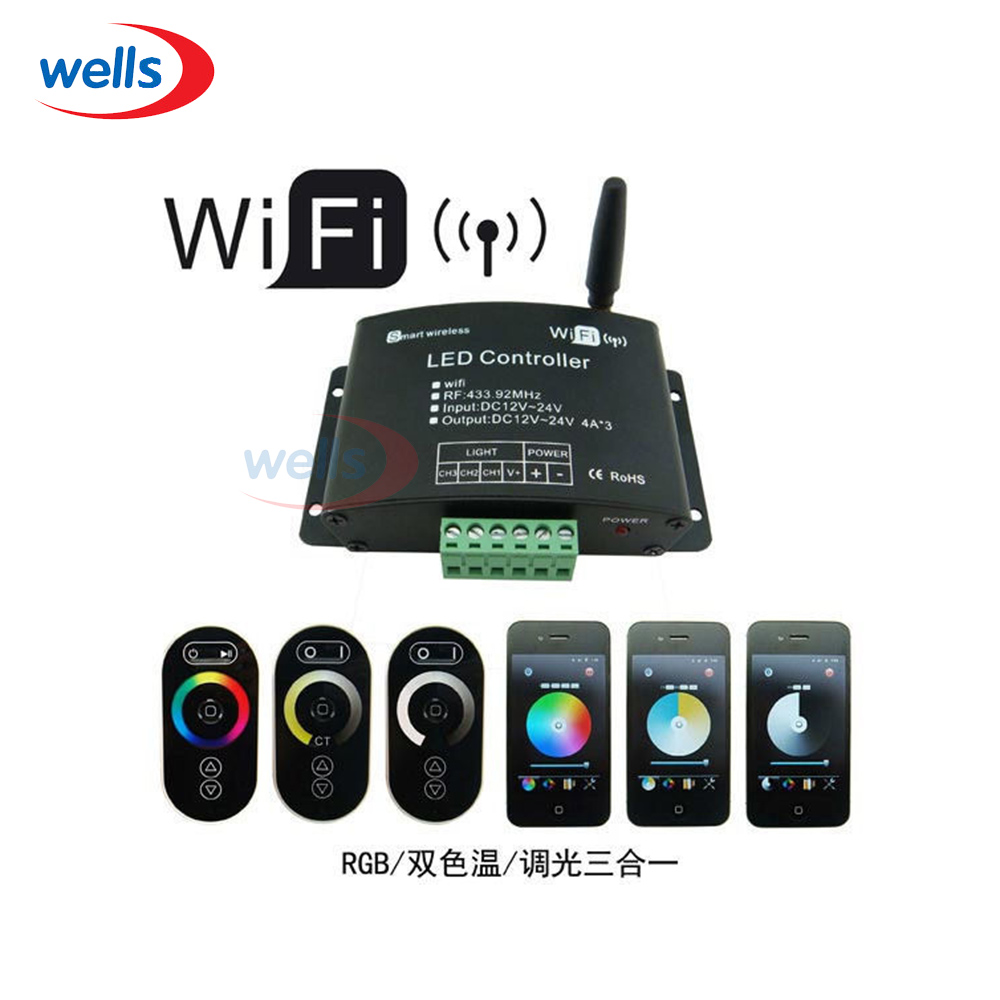 RGB WiFi LED Controller Controlled by Mobile Phone with Android or IOS 4A*3 CH mini wifi 01 smart wireless 3 ch wi fi ios android phone controlled rgb light strip controller