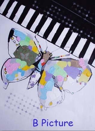 И Высококачественная ручная роспись настенная абстрактная картина маслом бабочка и фортепиано Современное украшение дома - Размер (дюймы): B Picture