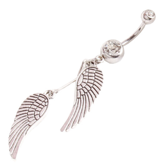 706 Body Piercing Jewelry Crystal Angel Wing Single Navel Studs Dangle Belly Barbell On Bar Ring