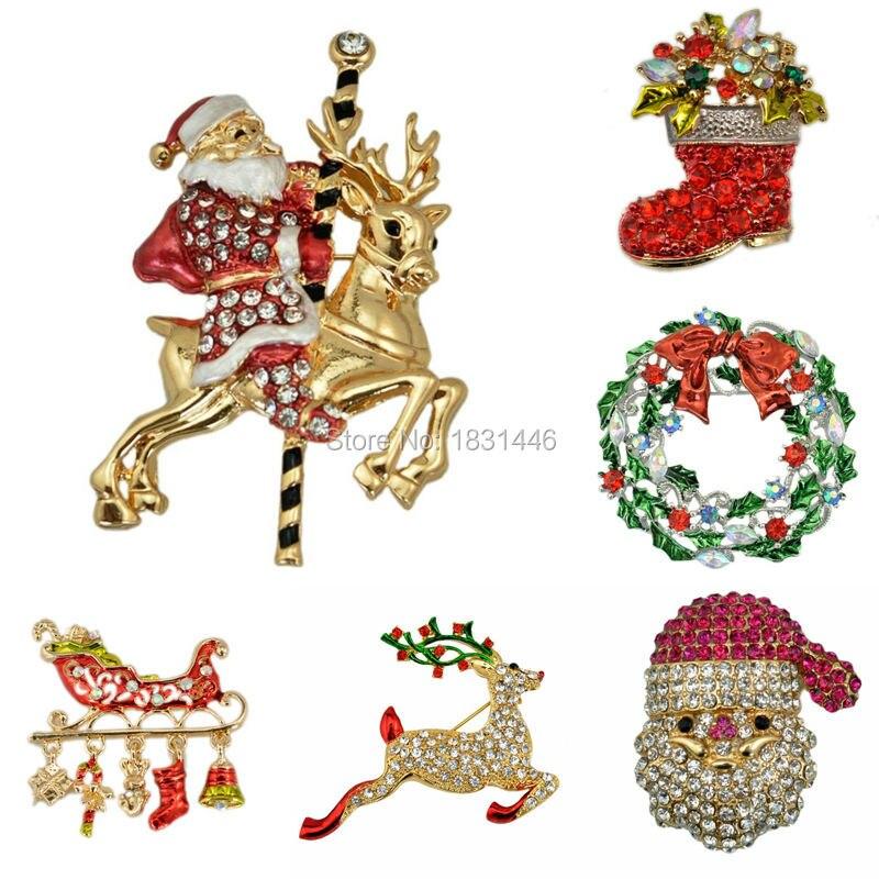 ✓Moda Navidad Botas árbol encantador Milu Deer broche Santa Claus ...