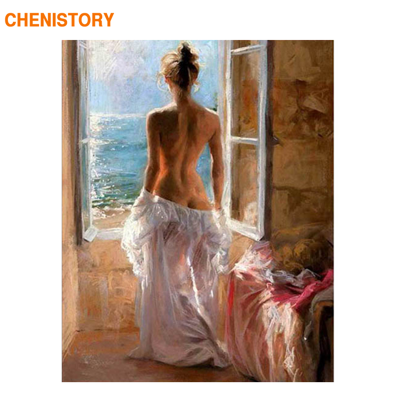 CHENISTORY 60x75cm Frame Lady Women DIY Painting By Numbers Figure Painting Wall Art Picture Acrylic Paint By Numbers For Gift