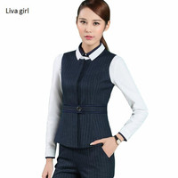 Stripe pants suit set women Fashion OL spring business formal O neck vest with pants office ladies work wear plus size Uniform