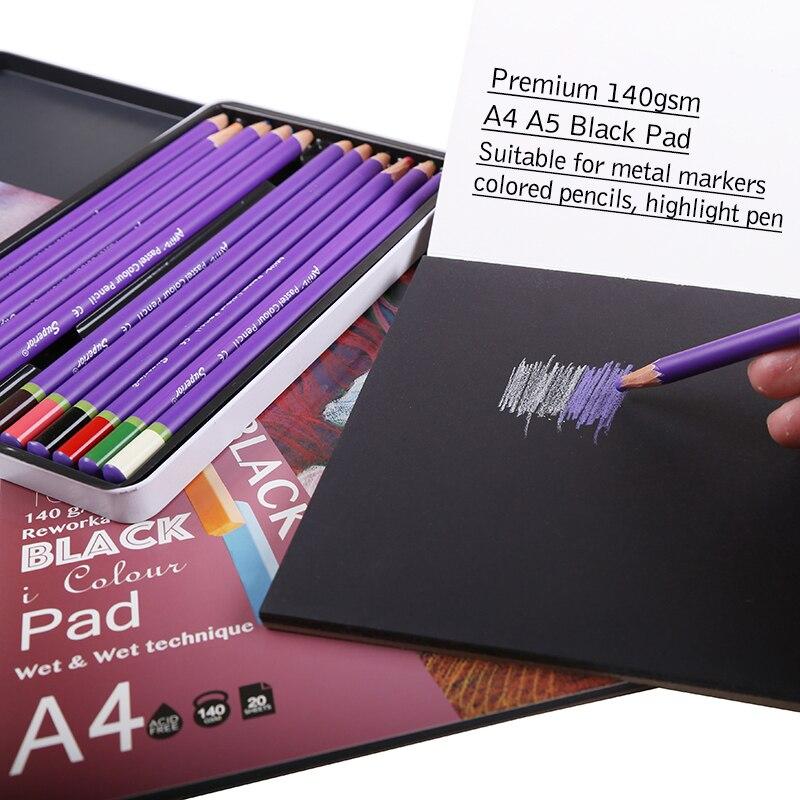 Dainayw 140gms 20Sheet Black Paper Cardboard Notebook Sketch Book For Marker Pen Color pencils Drawing graffiti School Supplies crayons de couleur haut de gamme