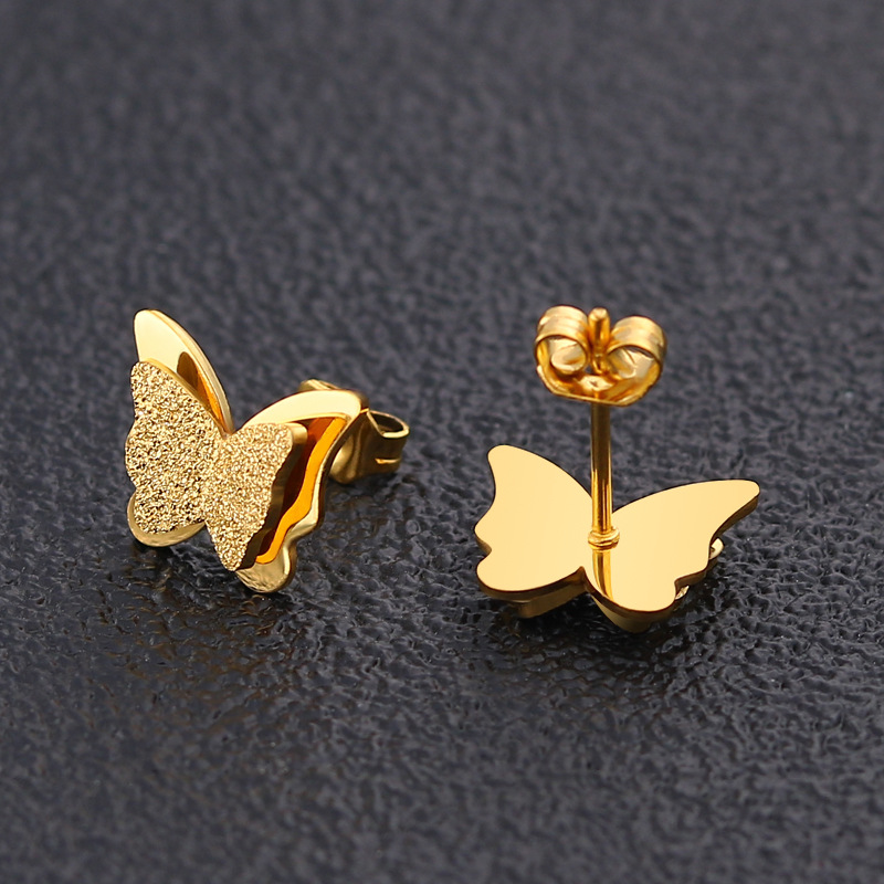 Exquisite Silver Gold Butterfly Stud Earrings Stainless Steel Thick Thin Two Style Ear Pin Earrings For Woman Girls
