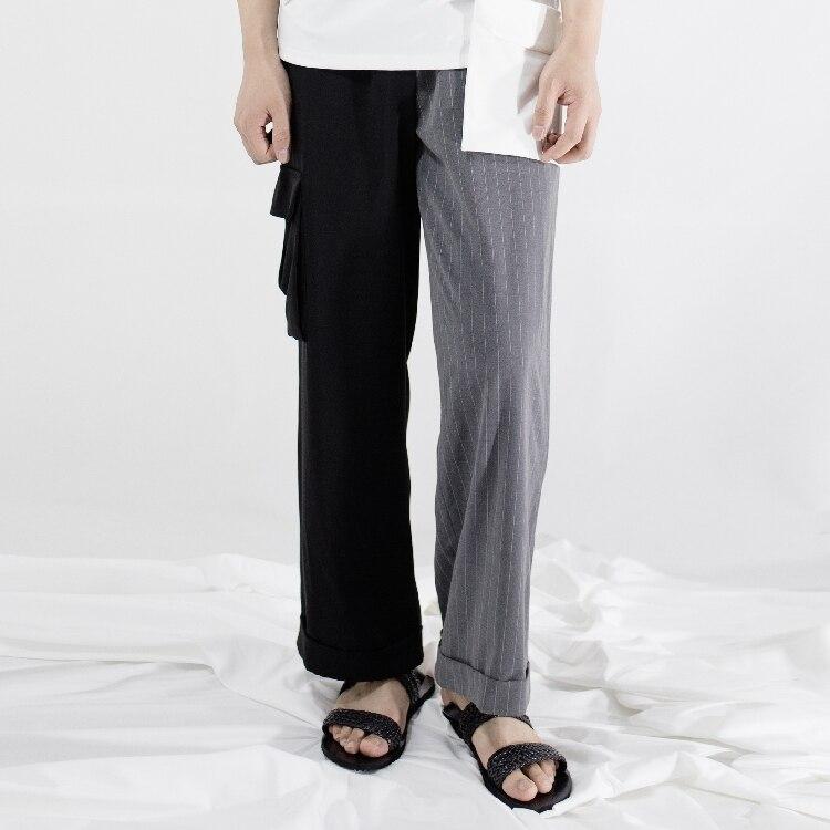 Custom!  Homemade new 2018 men's casual pants fashion spliced wide-leg pants  27-44