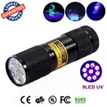 3AAA 9LED Aluminium Invisible Blacklight Detection Ink Marker 9uv 9 LED UV Ultra Violet Mini Flashlight Torch Light Lamp