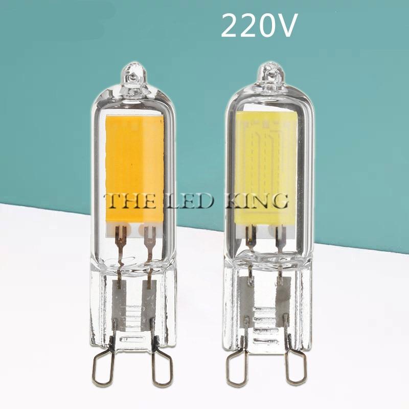 Lâmpada de luz de led super brilhante g9, 7 w 9 w 12w15w 220 v, lâmpada de vidro frio branco/quente lâmpada led de iluminação constante g9, lâmpadas cob