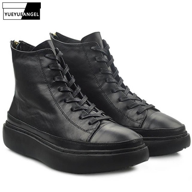 Vintage Lace Up Men Martin Boots British Black Platform Height Increasing Ankle Boots Brand Work Safety High Top Shoes Man 38-44