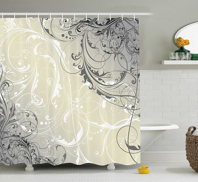 Floral Shower Curtain Baroque Swirled Branches Curved Flower Leaves ...
