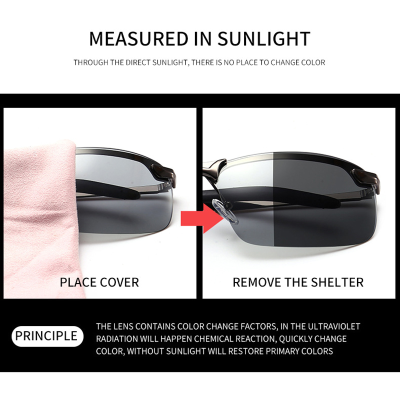 Photochromic Polarized Sunglasses Men Women Chameleon Glasses UV400 Safety Day Night Driving Pilot Anti glare Vision Glasses in Men 39 s Sunglasses from Apparel Accessories
