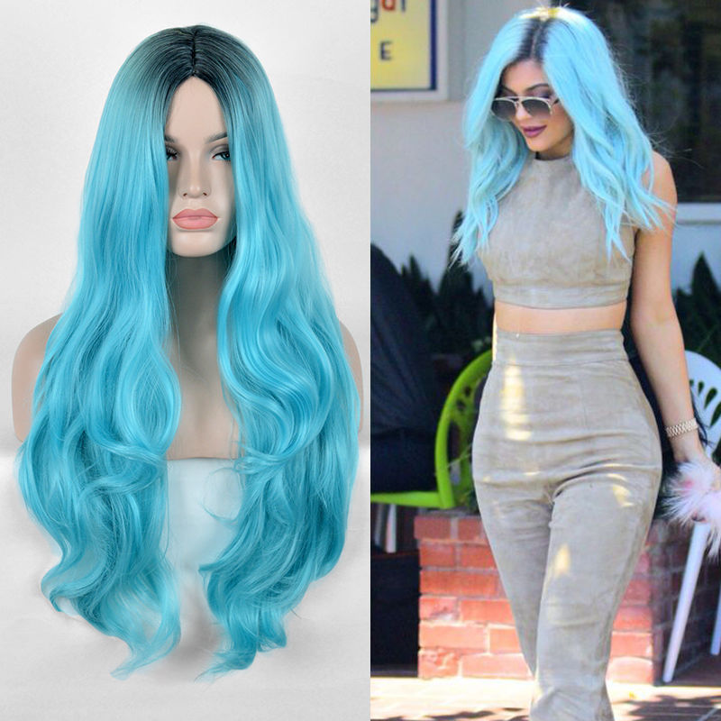 Kylie Jenner Black Green Cosplay Wig Long Natural Curly Duck Egg Blue Hair Synthetic Wigs + Free Wig Cap