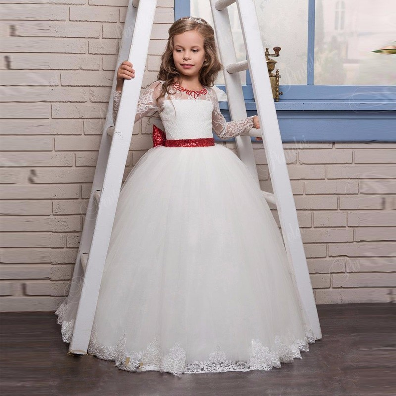 Long Sleeve Flower Girls Dresses with Red Sequins Big Bow and Beaded Appliques Tulle Princess Girl Party Ball Gown Girl Dress cute navy blue tulle satin formal birthday party dresses o neck short sleeve sequins appliques and butterfly baby girl dress