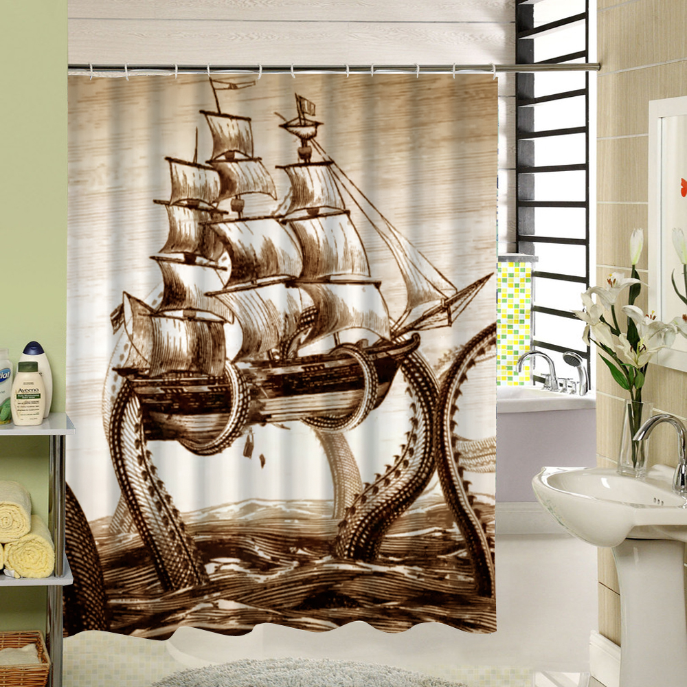 Sea Animal Shower Curtain Octupus Design 3d Print Fabric Waterproof Bathroom Curtain Washable for <font><b>Kids</b></font> Bath Gift 180cm Long Dorp