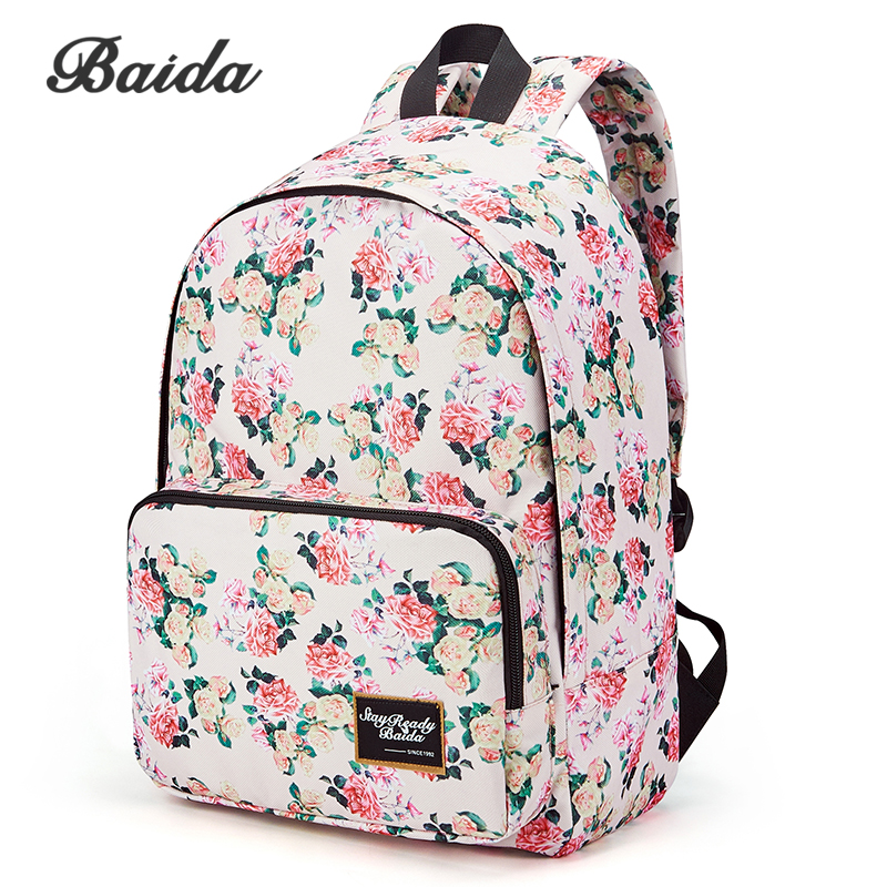 BAIDA Brand Fashion Floral Print font b Backpack b font School Book Bags Yellow and Pink