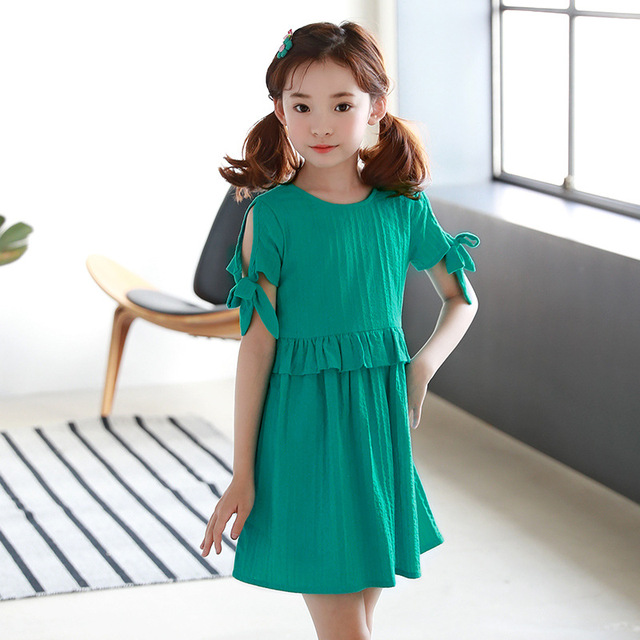 7b2ff9115 ruffles patchwork little big girl dresses cotton summer 2018 green ...