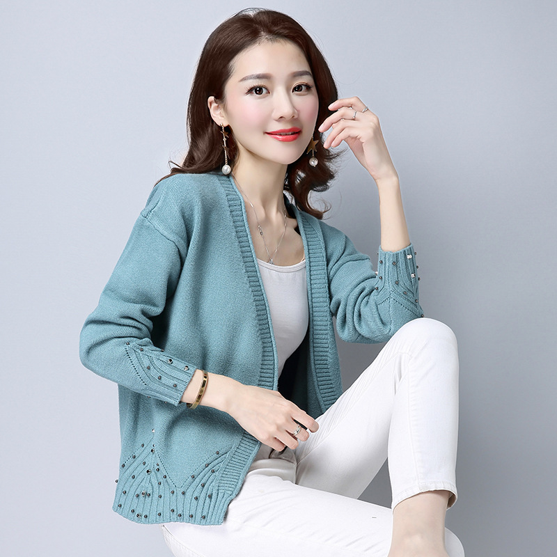 Fashion Beading Diamond Women Cardigan Sweater 2017 Autumn Winter Blue Deep V-neck Loose Knitted Cardigan Sweaters For Women ...