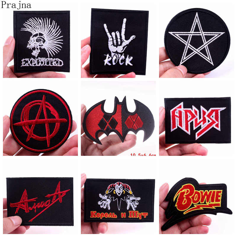 Prajna Militar Remendo Crânio Banda de Rock Hippie Patches Bordados de Ferro Sobre Patches Para Jaqueta de Roupas Tecido Applique Do Emblema