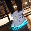 2016 Top Invierno de Piel de Conejo LED Luminoso Zapatillas Mujer USB Recargable Led Zapatillas De Piel