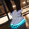 2016 Winter Top Rabbit Fur LED Luminous Sneakers Women USB Rechargeable Led Fur Slippers