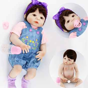 "Adorable girl bebes reborn full silicone baby dolls 23""57cm child fashion doll gift reborn babies newborn doll can bathe"