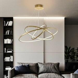 Image 2 - Moderne gold led kronleuchter für treppe große ring edelstahl leuchte kurze villa halle lobby dekoration beleuchtung