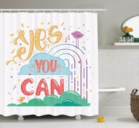 High Quality Arts Shower Curtains Yes You Can Cheerful Encouragement Birds Singing Musical Bathroom Decorative Modern