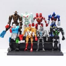 8pcs/lot 12cm Real Steel Toys Atom Ambush Zeus Metro Twin Cities Noisy Boy Action Toy Figures Collection Model