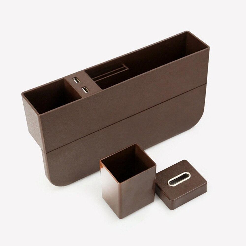 Универсальный ящик для хранения автомобильный подстаканник для сидений двойной перезаряжающийся USB интерьер для дома корзина для организации автомобиля коробка для хранения - Название цвета: Dark brown