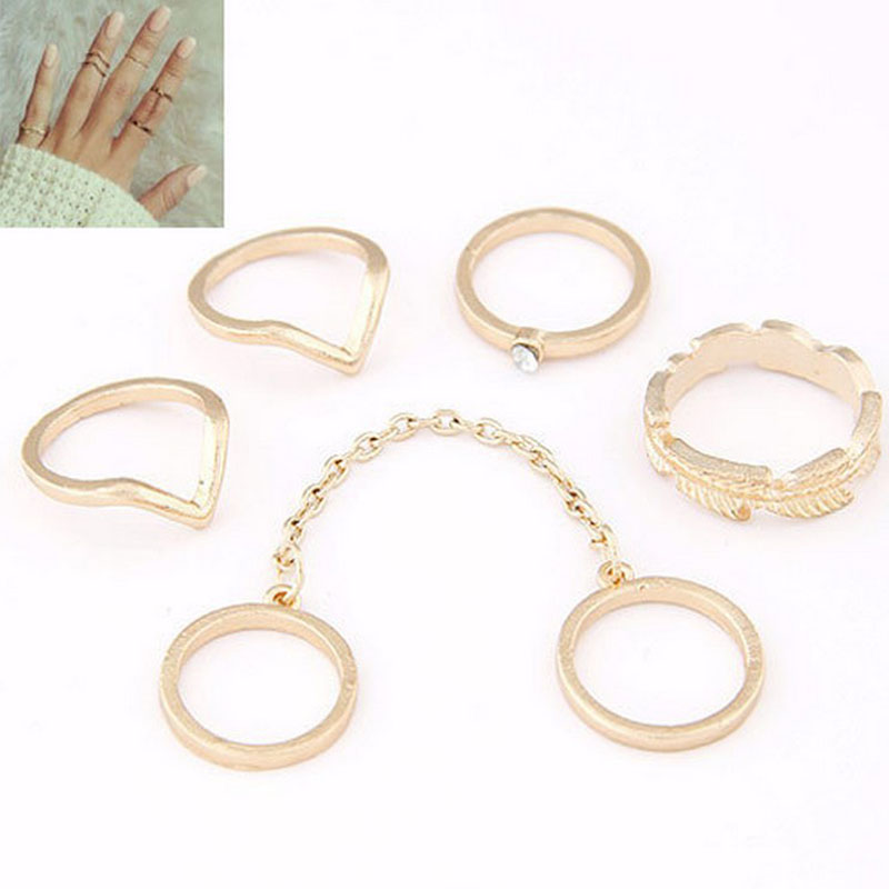 6PCS/Lot Rings Sets Simple Wave Tree Branch Leaf Small Hand Rings Connected Fingers Golden Circles Knuckle Rings Jewelry JZ004
