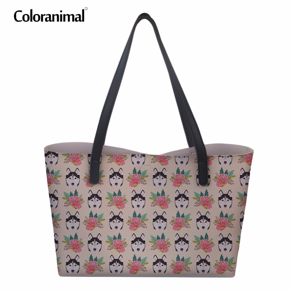 Coloranimal Women PU Handbags Cute Animal Dog Husky Design Casual Leather Woman Shoulder Bags Flower Floral Tote Shopping Bags