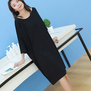 Image 4 - 2019 summer plus size night dress women loose soft sexy strapless sleepwear nightgowns sleepshirts sleepdress home outfits