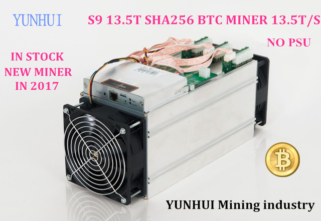 HOT! YUNHUI Mining industry sell AntMiner S9 13.5T Bitmain 13.5Th/s (no psu) Asic Miner BTC Miner BTC Mining Power 1350w on wall