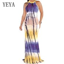 YEYA Vintage Printed Bodycon Bandage Pencil Maxi Dress Women Sexy Hollow Out Sleeveless Slim Summer Boho Beach Dresses