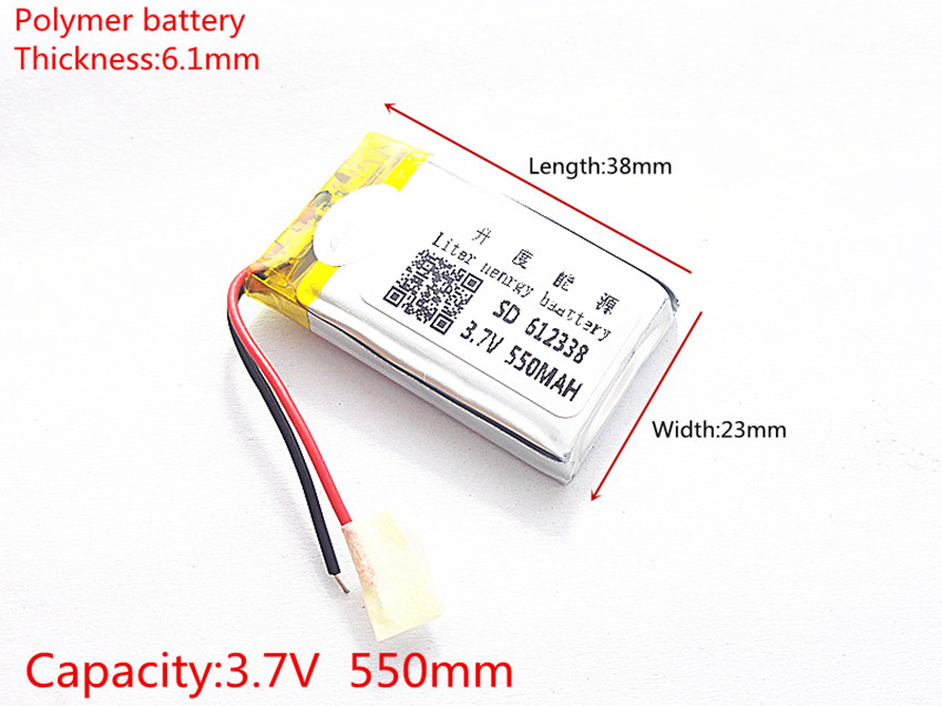 3.7V lithium polymer battery 062338 <font><b>612338</b></font> 550mAh MP3 MP4 GPS 6.1*23*38mm lithium battery small stereo GPS image