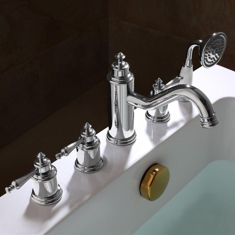 2018 en gros nouveauté Premium luxueux décor à la maison Antique brun 5 pièces baignoire robinet baignoire remplisseurs bain douche mélangeur robinets - 3