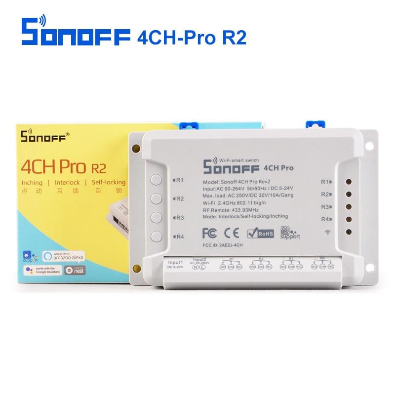 Sonoff 4CH Pro R2 smart Switch 4 Canaux 433 mhz 2.4g Wifi Télécommande pour la Domotique Modules AC 250 v/DC30V 10A