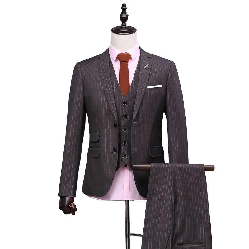 OSCN7 2019 新ストライプテーラーは男性 3 ピース紳士ビジネス結婚式カスタムメイドメンズスーツブレザーカスタマイズ 383 -6