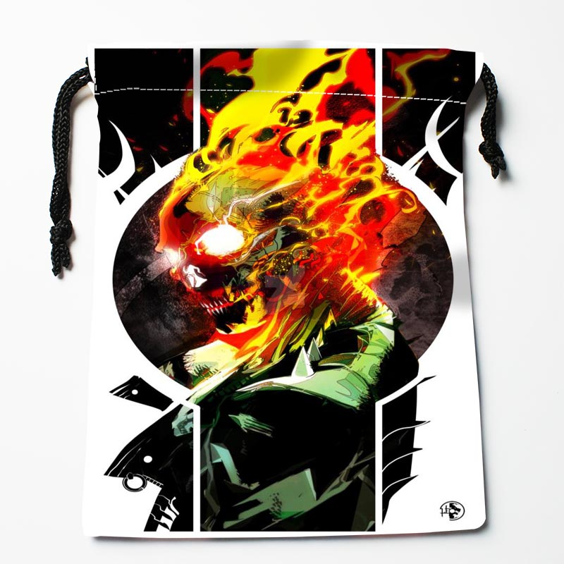 New Arrive Ghost Rider Skull Drawstring Bags Custom Storage Bags Printed Gift Bags More Size 27x35cm DIY Your Picture
