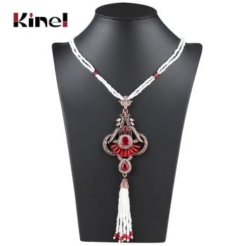 a56a78c4288e Collar de borla Bohemia única de Kinel collar de joyería Vintage antiguo  Color dorado étnico con cuentas a mano collar largo de piedra para mujer