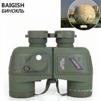 Оригинальный BAIGiSH военный телескоп 10x50 Бинокль дальномер цифровой компас HD русский морской азот водостойкий телескоп