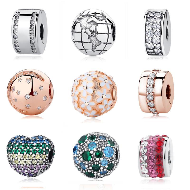 Authentic 925 Sterling Silver Clip Stopper Beads Charm Women Original Charms Fit Pandora Bracelets Bangles DIY Fashion Jewelry